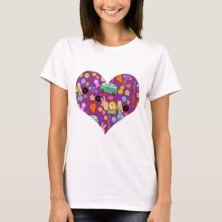 Amor maravilloso de la púrpura 60s camiseta
