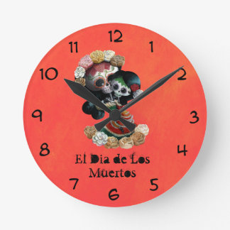 Amor maternal esquelético mexicano reloj redondo mediano