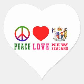 Amor Nueva Zelanda de la paz Pegatina En Forma De Corazón