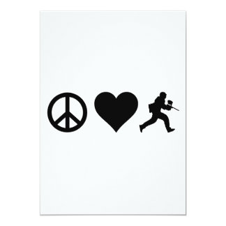 Amor Paintball de la paz Invitación 12,7 X 17,8 Cm