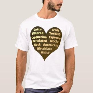 Amor para la camiseta de los hombres del café