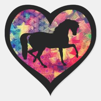 Amor para los caballos pegatina en forma de corazón