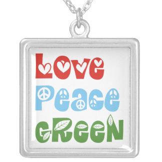 Amor, paz, collar de encargo verde