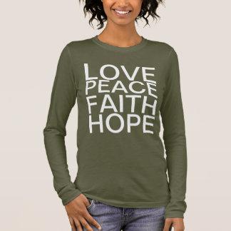 Amor, paz, fe, camiseta de la palabra de la
