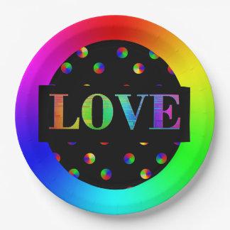 Amor, placas de papel del fiesta del arco iris de plato de papel