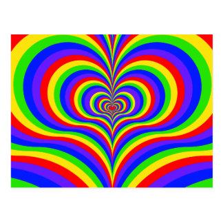 Amor psicodélico colorido postal