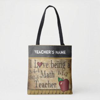 Amor que es un nombre del profesor de matemáticas bolso de tela
