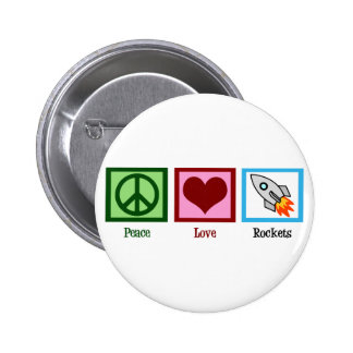 Amor Rockets de la paz Chapa Redonda 5 Cm