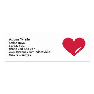 Amor rojo del corazón plantillas de tarjeta de negocio