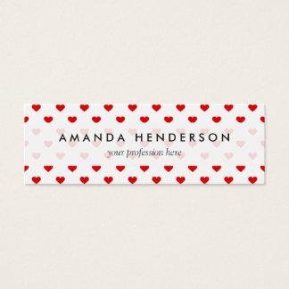 Amor rojo del modelo del corazón tarjeta de visita mini