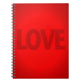 Amor rojo fresco abstracto libreta espiral