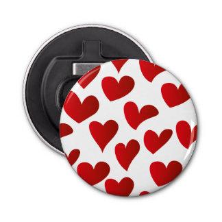 Amor rojo pintado modelo del corazón del ejemplo abrebotellas redondo