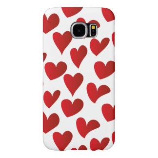 Amor rojo pintado modelo del corazón del ejemplo funda samsung galaxy s6