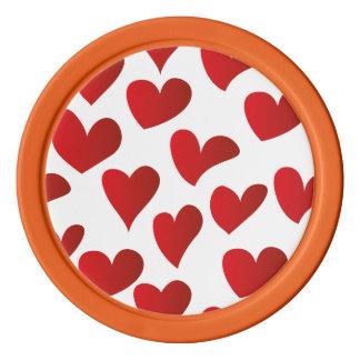 Amor rojo pintado modelo del corazón del ejemplo juego de fichas de póquer