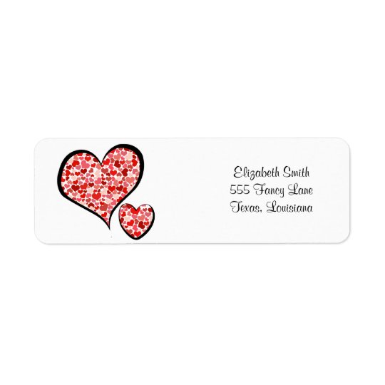 Amor, romance, corazones - blanco rojo etiqueta de remitente