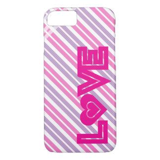 Amor rosado con el caso del corazón funda iPhone 7