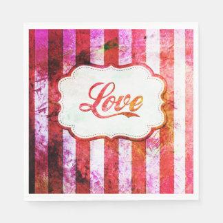 Amor rosado con las rayas servilleta de papel