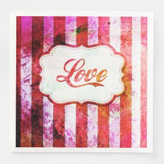 Amor rosado con las rayas servilleta desechable