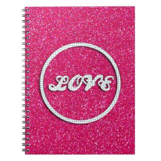 Amor rosado de Bling Libro De Apuntes