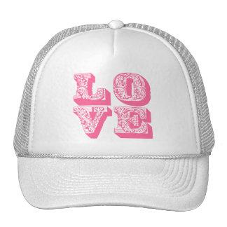 Amor rosado de lujo gorros bordados