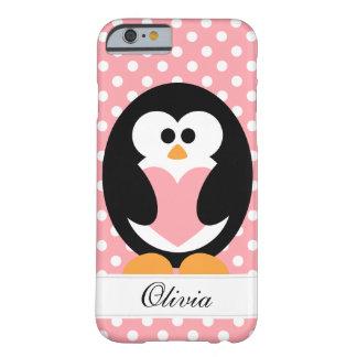 Amor rosado del pingüino funda de iPhone 6 barely there