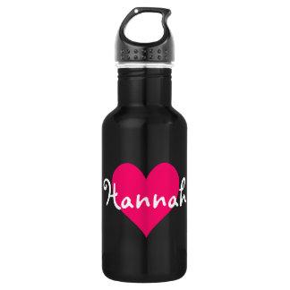 Amor rosado Hannah del corazón I Botella De Agua