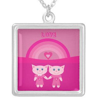 Amor rosado lindo y arco iris de los gatos del dib colgante cuadrado