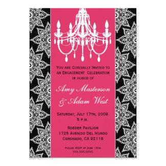 Amor rosado y negro invitación 12,7 x 17,8 cm