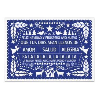 Amor, salud, navidad del azul del picado del papel invitación 12,7 x 17,8 cm