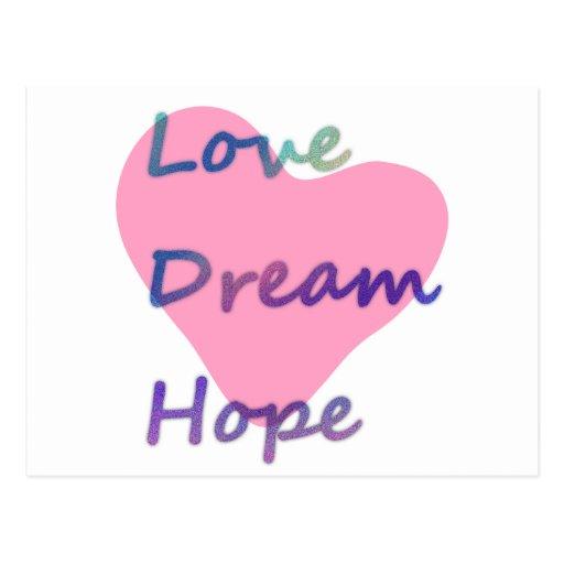 Amor, sueño, corazón de la esperanza postales