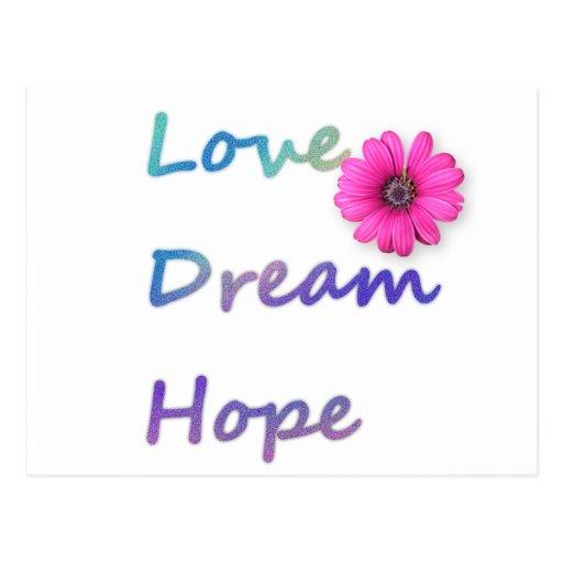 Amor, sueño, flor de la esperanza tarjeta postal