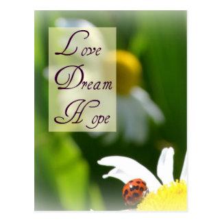 Amor, sueño, postal de la mariquita de la esperanz