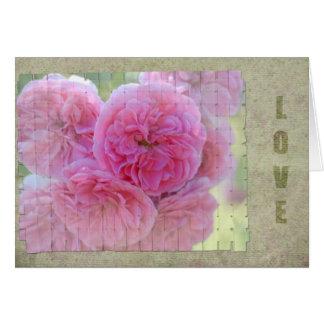 Amor tejido de los rosas tarjeta de felicitación