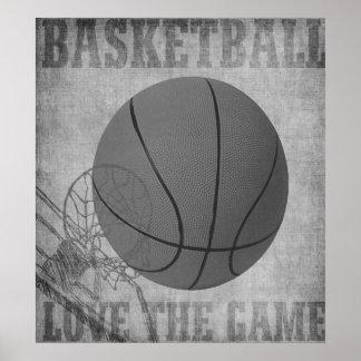 Amor The Game de la bola de la cesta en blanco y n Póster