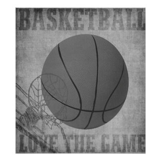 Amor The Game de la bola de la cesta en blanco y Póster