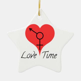 amor time adorno navideño de cerámica en forma de estrella