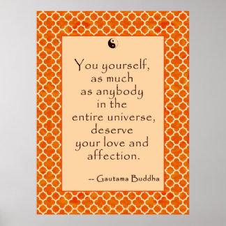 Amor usted mismo de la cita de Buda… en los poste