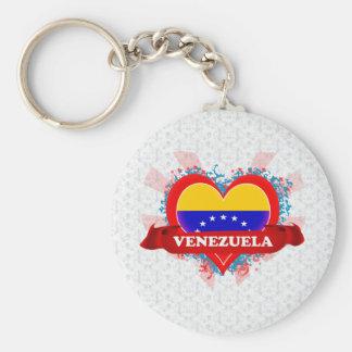 Amor Venezuela del vintage I Llavero Redondo Tipo Chapa
