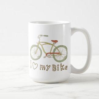 Amor verde de la bicicleta I del vintage mi taza