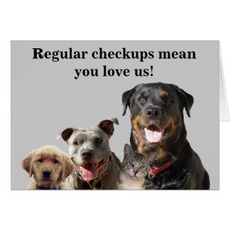Amor veterinario su tarjeta del chequeo de los