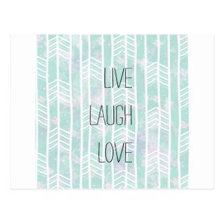 Amor vivo de la risa del modelo tribal azul y postal