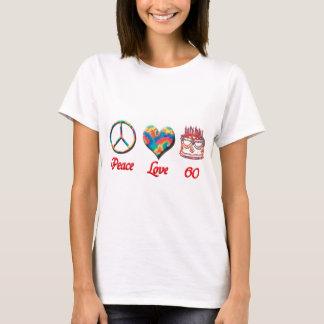 Amor y 60 de la paz camiseta
