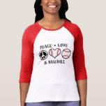 Amor y béisbol de la paz camiseta