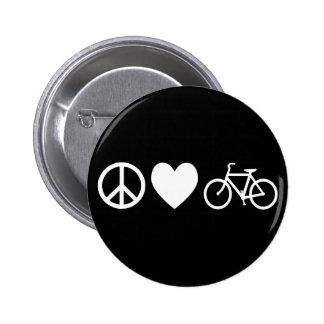 Amor y bicicletas de la paz chapa redonda de 5 cm