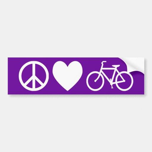 Amor y bicicletas de la paz etiqueta de parachoque