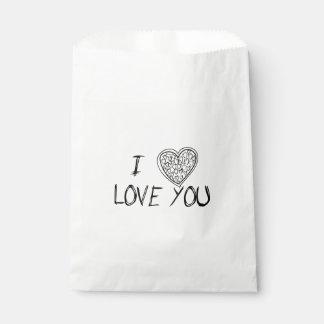 Amor y corazones negros y blanco - boda, fiesta bolsa de papel