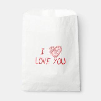Amor y corazones rojos y blanco - boda, fiesta bolsa de papel
