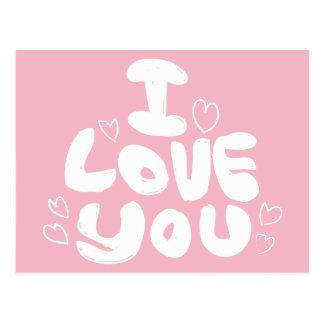 Amor y corazones rosados y blanco - boda de la postal