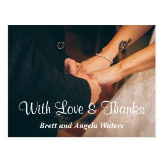 Amor y gracias simples de la foto del boda postal