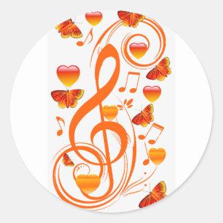 Amor y mariposas, notes_ de la música pegatina redonda